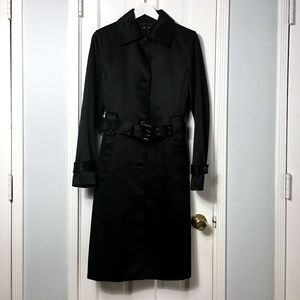 Zara black satin trench coat sz M